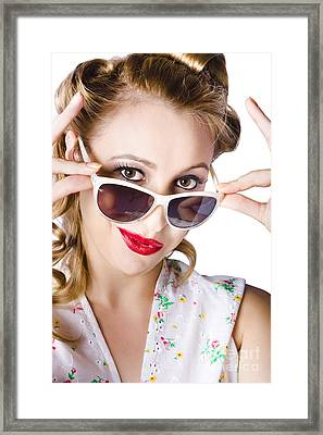 Fashionable Woman In Sun Shades Framed Print by Jorgo Photography - Wall Art Gallery