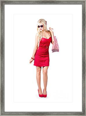Fashionable Woman Shopping Framed Print