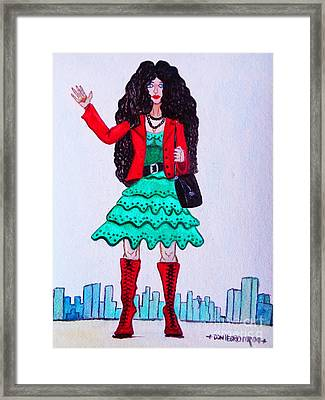 Fashionist Hailing A Taxi Framed Print by Don Pedro De Gracia