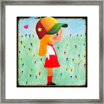 Fashionista Gabby Hopscotch With Hat Heart Framed Print by Sandra Harrison