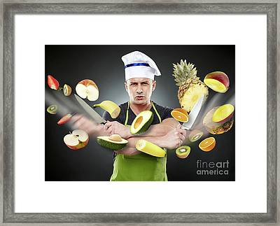 Fast Cook Slicing Vegetables In Mid-air Framed Print by Catalin Petolea
