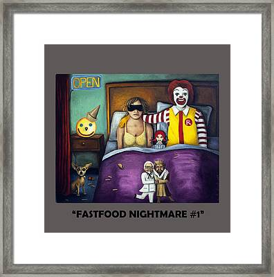 Fast Food Nightmare With Lettering Framed Print