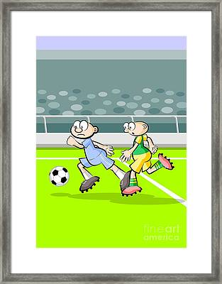 Fast Forward Of A Soccer Player Followed Closely By His Rival Framed Print