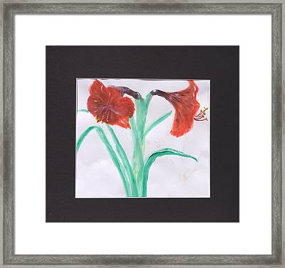Fast Paint Red Flowers Framed Print by Jonathan Galente
