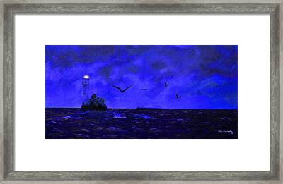 Fastnet Light Ireland Night Framed Print by Ken Figurski