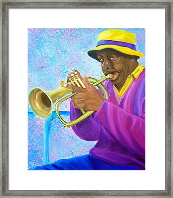Fat Albert Plays The Trumpet Framed Print by Michael Lee