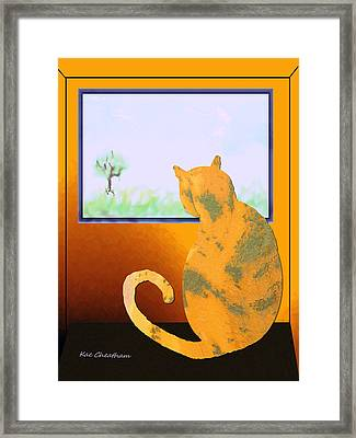 Fat Cat At Her Window Framed Print