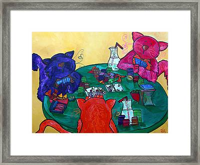 Fat Cats Playing Cards Framed Print