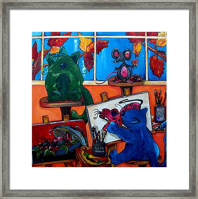 Fat Cats Take Over My Art Studio Framed Print