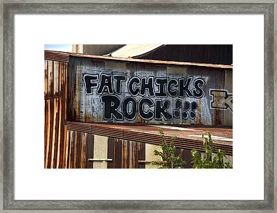 Fat Chicks Rock Graffiti Baltimore Maryland Framed Print by Wayne Higgs
