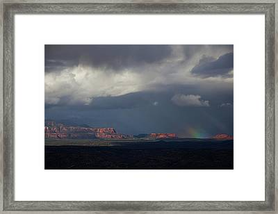Framed Print featuring the photograph Fat Ground Rainbow, Red Rocks Sedona by Ron Chilston