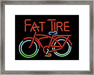 Fat Tire Neon Beer Sign Framed Print by David Lee Thompson