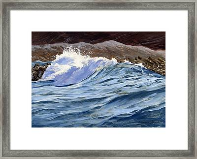 Framed Print featuring the painting Fat Wave by Lawrence Dyer