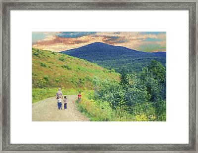 Father And Children Walking Together Framed Print