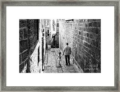 Father And Daughter In Jaffa Framed Print