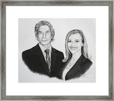 Framed Print featuring the drawing Father And Daughter by Mike Ivey