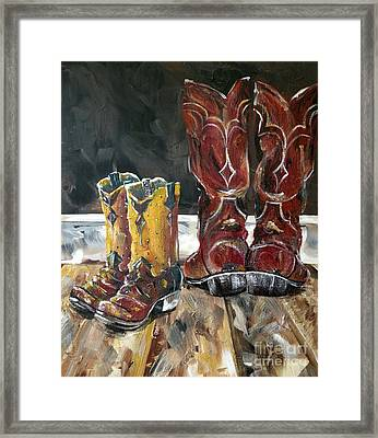Father And Son Boots Framed Print