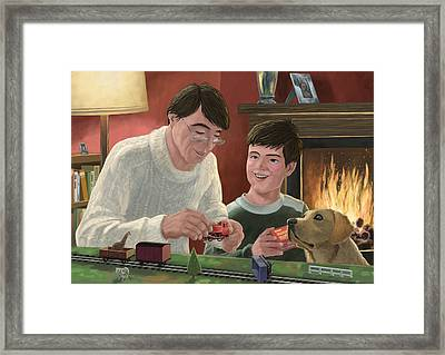 Father And Son Building Model Railway Framed Print by Martin Davey