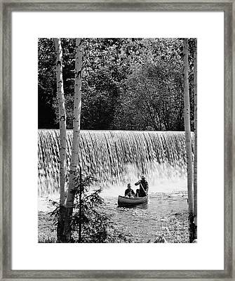 Father And Son Canoeing, C.1960-70s Framed Print