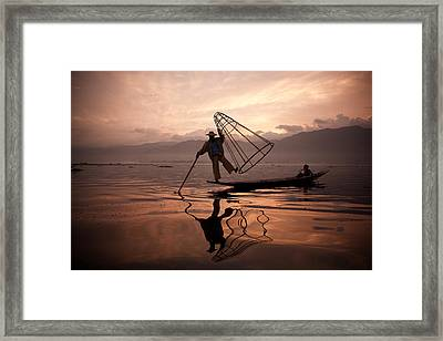 Father And Son Fishing Dance. Framed Print