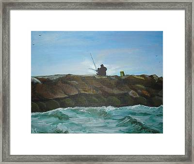 Father And Son Fishing Framed Print
