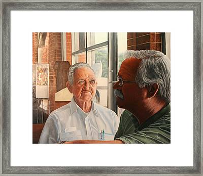 Framed Print featuring the painting Father And Son by Mike Ivey