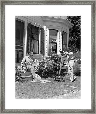 Father And Son Outside Talking, C.1940s Framed Print