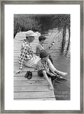 Father And Sons Fishing Framed Print