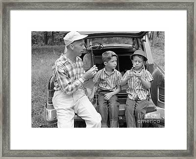Father And Sons Going Fishing Framed Print