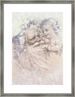 Father Christmas And A Child Framed Print by English School