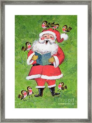 Father Christmas And Robin Chorus Framed Print by Stanley Cooke