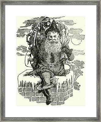 Father Christmas Climbing Down A Chimney Framed Print