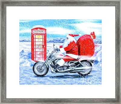 Father Christmas Has A New Bike Framed Print