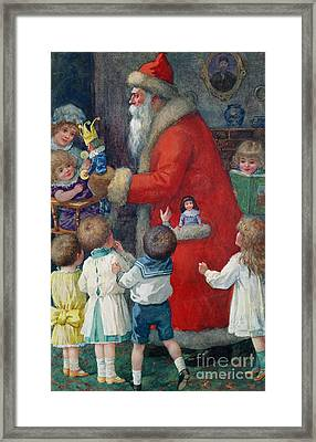 Father Christmas With Children Framed Print by Karl Roger