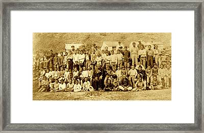 Father Damien And Boy Lepers Of Kalaupapa Framed Print by James Temple