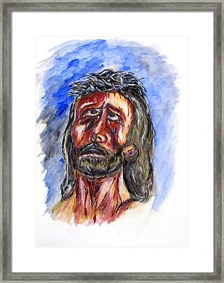 Father Forgive Them Framed Print by Clyde J Kell