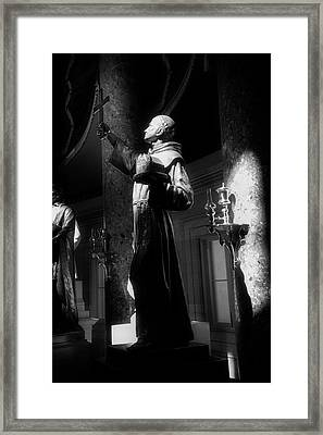 Father Junipero Serra In Black And White Framed Print