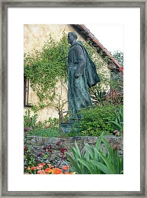 Father Junipero Serra Statue At Mission Carmel Framed Print