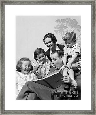 Father Reading To Family, C.1930s Framed Print by H. Armstrong Roberts/ClassicStock