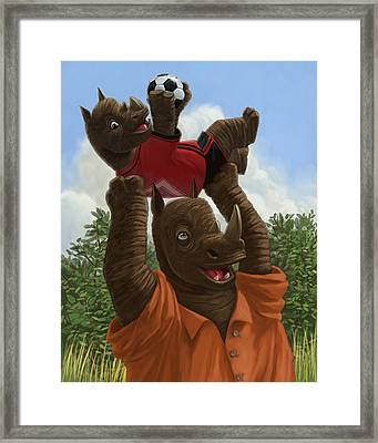 father Rhino with son Framed Print by Martin Davey