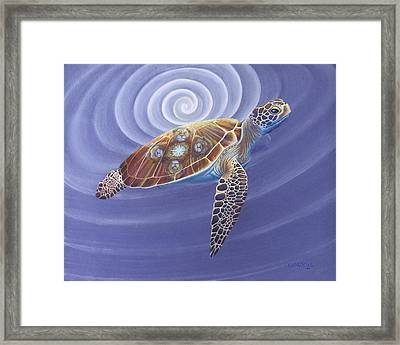 Father Turtle With Lions Framed Print by Robin Aisha Landsong