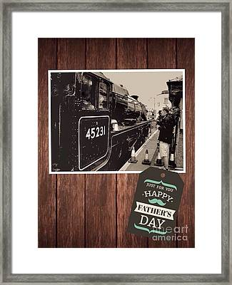 Father's Day Train Greeting Framed Print by Joan-Violet Stretch