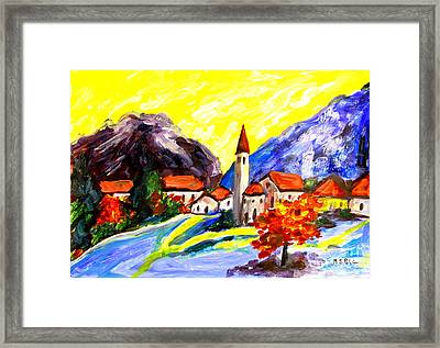 Fauvist Paint Village.    Framed Print by Maria S Poli