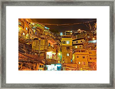 Framed Print featuring the photograph Favela Night by Kim Wilson