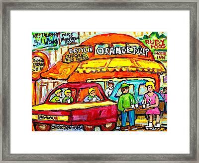 Favorite Dive-in Orange Julep Vintage Montreal Scene Roadside Attraction Art For Sale Carole Spandau Framed Print