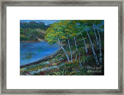 Framed Print featuring the painting Favorite Fishin' Hole by Leslie Allen
