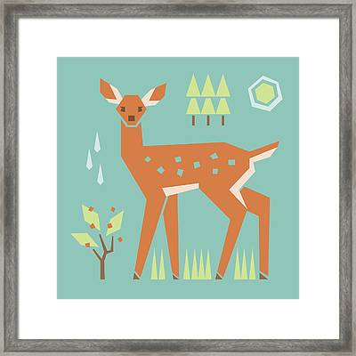 Fawn In The Meadow Framed Print by Mitch Frey