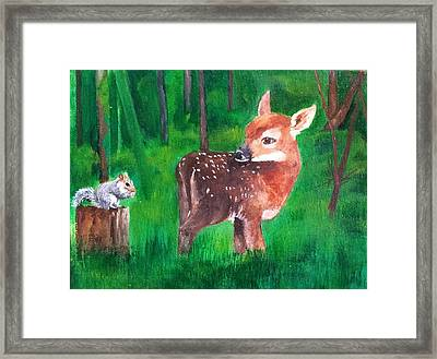 Fawn With Squirrel Framed Print