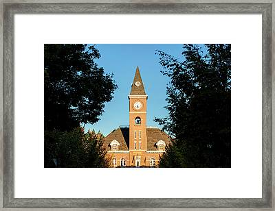 Fayetteville Arkansas Downtown Courthouse At Sunset Framed Print