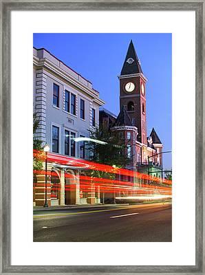 Fayetteville Arkansas Skyline At Night Framed Print